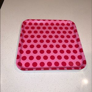 IKEA Square Tray Pink With Red Polka Dots 13x13""